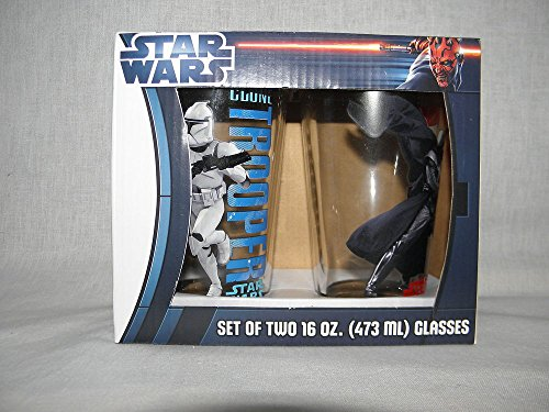 Star Wars Darth Vader and Clone Trooper Set of 2 16oz. Glasses by Vandor