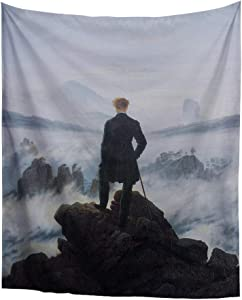 World Classic Art Masterpiece Tapestry Series Caspar David Friedrich-Wanderer Above The sea of Fog. Classical Art Tapestry Wall-Hanging Antique Vintage Collection Home Décor