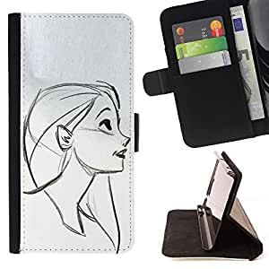 Momo Phone Case / Flip Funda de Cuero Case Cover - Cara Retrato Perfil Chica Dibujo Lápiz - Samsung Galaxy Note 4 IV