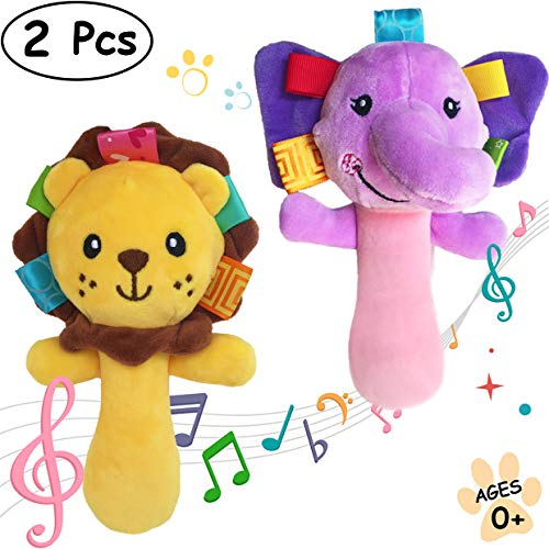 (MerVeilleux Cartoon Stuffed Animal Baby Soft Plush Hand Rattle Squeaker Sticks for Toddlers - Elephant and Lion)