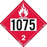 Labelmaster ZRV81075 UN 1075 Flammable Gas Hazmat Placard, Rigid Vinyl (Pack of 25)