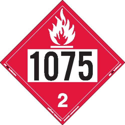 Labelmaster ZRV81075 UN 1075 Flammable Gas Hazmat Placard, Rigid Vinyl (Pack of 25) by Labelmaster®