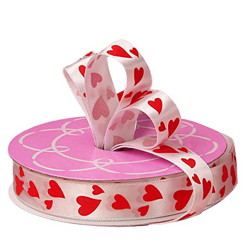 Red Hearts Satin Valentine Ribbon - 5/8
