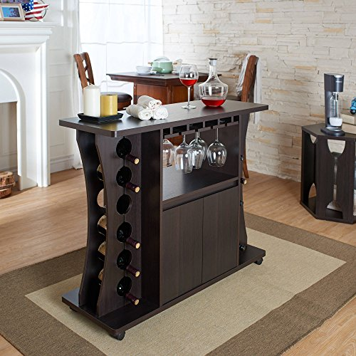Modern Multi-Storage Buffet, Biult-in Stemware, Wine Racks, Open Shelf, Center Cabinet, Curved Sides, Storage Space, Slots, Paties, Home Bar, Dining Room Furniture Item, Espresso by GA Shop
