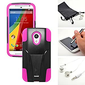 Black Pink Trifecta Kickstand Hybrid Gel Case Protector Cover for Motorola Moto G 2nd Gen + Accessory Kit