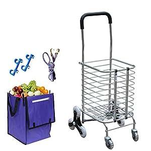 DELLT- Escalada carrito de la compra plegable para comprar un coche coche caravana de aluminio supermercado portátil pequeño remolque carrito de la cesta de ancianos