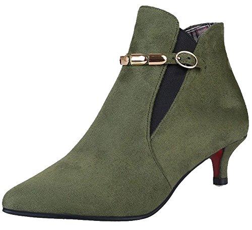Aisun Women's Stylish Frosted Pointed Toe Buckled Belt Side Medium Kitten Heel Ankle Booties Green