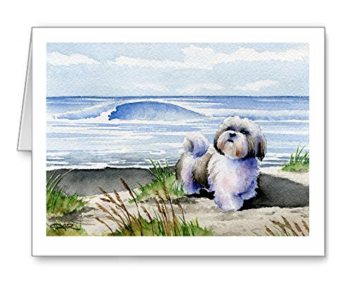 Shih Tzu At The Beach - Set of 10 Note Cards With Envelopes