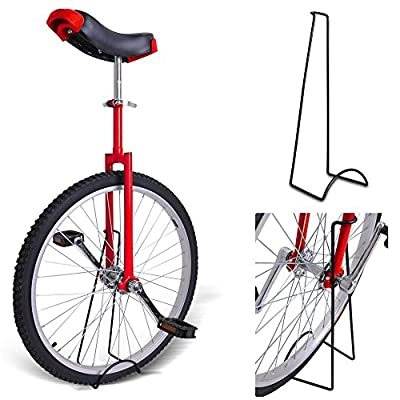 "20"" Inches Wheel Skid Proof Tread Pattern Unicycle W/ Stand Uni-Cycle Bike Cycling RED"