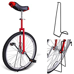 "20"" Inches Wheel Skid Proof Tread Pattern Unicycle W/ Stand Uni Cycle Bike Cycling RED"