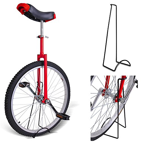 20'' Inches Wheel Skid Proof Tread Pattern Unicycle W/ Stand Uni-Cycle Bike Cycling RED by Jamden