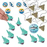 Shark Party Favors for 12 - Shark Tooth Toy Necklaces (12), Shark Tattoos (36), a Shark Birthday Sticker and 12 Shark Squirt Toys (Light Blue)