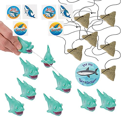 Shark Party Favors for 12 - Shark Tooth Toy Necklaces (12), Shark Tattoos (36), a Shark Birthday Sticker and 12 Shark Squirt Toys (Light Blue) by PartiFun