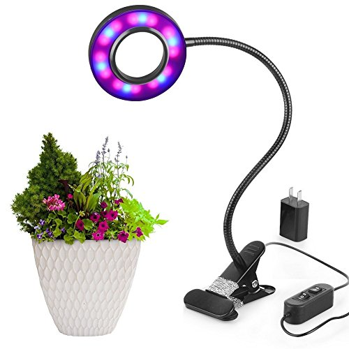 LED Grow Light, 10W Dimmable 8 Levels Plant Lights Desk Grow Lamp With 360°Adjustable Gooseneck For Indoor Plants Greenhouses Gardening Office Plant - Grow Shades Light