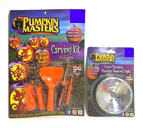 Pumpkin Masters 5 Piece Carving Kit and Color Changing Light Bundle ()