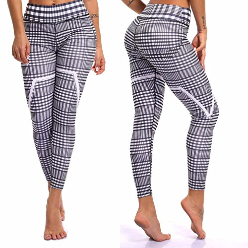 Cotton Plaid Trousers - Fittoo Yoga Pants Sport Pants Workout Leggings Sexy High Waist Trousers - Plaid (XL)
