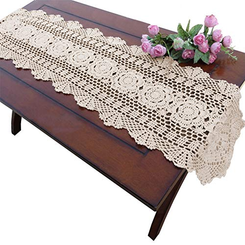 yazi Handmade Crochet Cotton Lace Table Runner Tablecloth 11.8