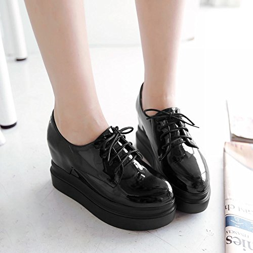 Shoes Patent Platform Lace Wedges Leather Women's Black Up Carolbar Oxfords UT8qZwx
