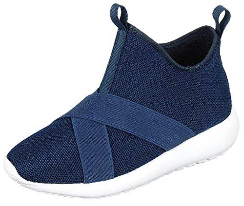 Evigt Länkar Kvinna Slip-on Stretch Mesh Andas Bandad Mode Sneaker Navy