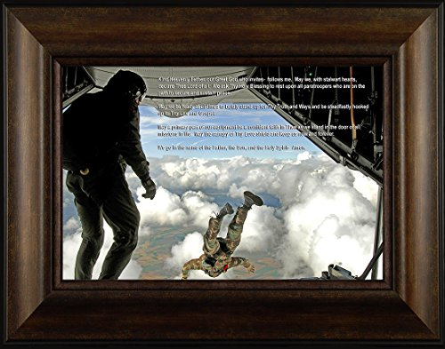 Paratrooper's Prayer By Todd Thunstedt 20x26 Sky Dive Diving Parachute Jumping Jumper Patriotic Soldier Military Paratrooper Airborne 101st 82nd Framed Art Print Wall Décor Picture - Jets Framed Motivational Print