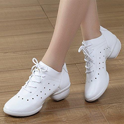 Cuir Blanc Femmes Talon De Bas Semelles En Danse Blanc Chaussures Noir Creux Pour YouPue Souples Moderne xw1WPZYqw