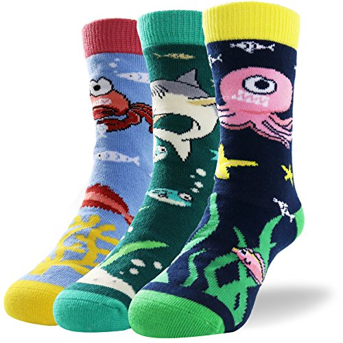 Kids Novelty Fun Colorful Animal Pattern Soft Combed Cotton Crew Socks for Little Boys Pack of 3 (Woven Socks Kids)
