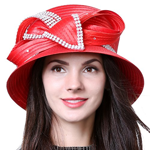 HISSHE Women Kentucky Derby Dress Church Wedding Party Feather Bucket Hat S608-A, Rhinestone-red, Medium by HISSHE
