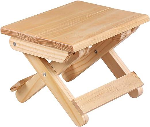 Outtybrave Taburete plegable de madera portátil para el hogar, cocina, camping, viaje, taburete plegable