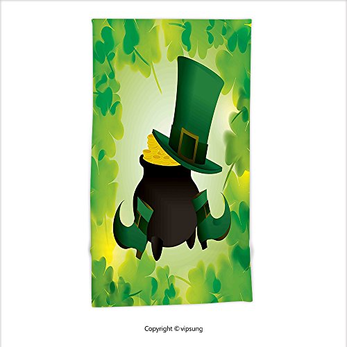 Vipsung Microfiber Ultra Soft Hand Towel-St. Patricks Day Decor Leprechaun Hat And Shoes Costume With Pot Of Gold With Shamrock Leaves Forest Green For Hotel Spa Beach Pool Bath - St George Costume Pattern