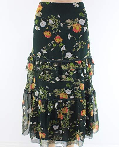 LAUREN RALPH LAUREN Womens Laucar Floral Print Peasant, Boho Skirt Green 10 - Print Skirt Lauren Ralph