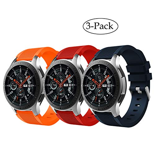 Compatible Samsung Galaxy Watch (46mm) Bands/Gear S3 Frontier/ S3 Classic Watch Band, 22mm Silicone Replacement Bands Straps Wristbands for Gear S3 /Galaxy Watch 46mm (Orange Red Navy)