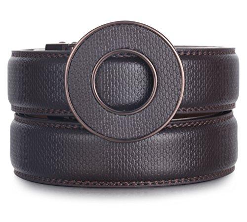 Designer Belt Buckle (Marino Ratchet Click Belts for Men - Mens Comfort Genuine Leather Dress Belt - with Automatic Buckle, Enclosed in an Elegant Gift Box - Brown - Adjustable from 28