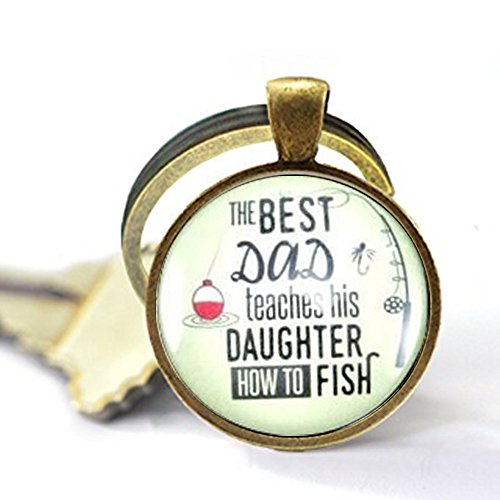 stap The Best Dad Teaches His Daughter How to Fish Fathers Day Fishing Keychain Gift For Dad From Daughter For Fisherman Gifts For Outdoorsman,Vintage Keychain Gift