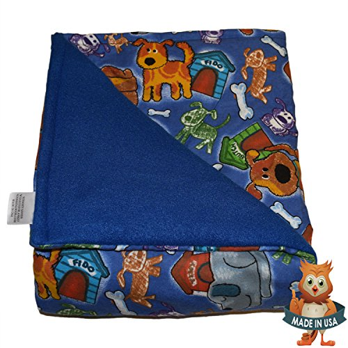 SENSORY GOODS Child Small Weighted Blanket MADE IN AMERICA - 5lb Medium Pressure - Fido Pattern/Blue - Fleece/Flannel (30'' x 48'') Provides Comfort and Relaxation.