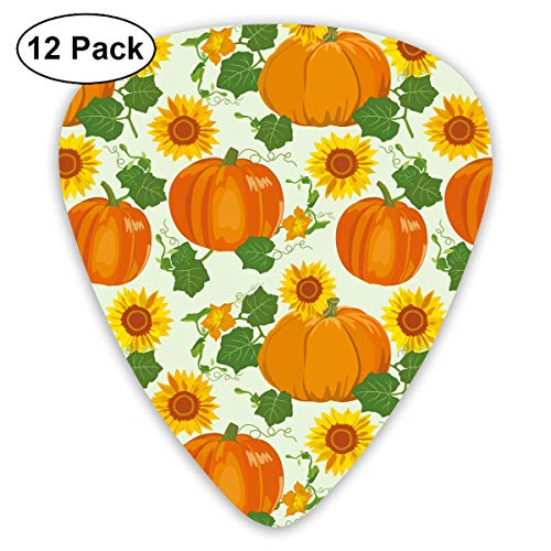 CHUANGFU Sunflowers Pumkin Unique Guitar Picks 12 Pack Plectrums for Musical Gift ()