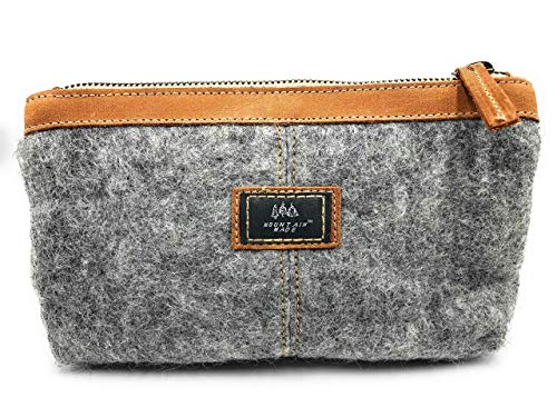 Mountain Made Wool and Pure Leather Luxury Travelers Small Cosmetic Bag, Toiletries, or Utility Bag For Women and Men…