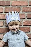 """Second """"TWO"""" Birthday Baby Boy Gray White Party Crown Hat"""