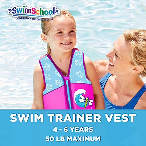 SwimSchool New & Improved Swim Trainer Vest, Flex-Form, Adjustable Safety Strap, Easy on and Off, Medium/Large, Up to 50 lbs., Pink/Aqua