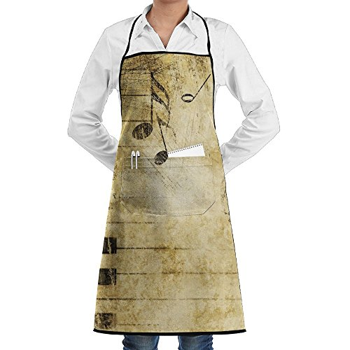 Piano Key Fashion Waterproof Durable Apron With Pockets For Women Men Chef ()