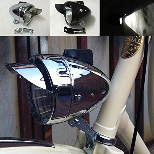 Motor-acc Classical Bright Metal Chrome Silver / Black Vintage Bicycle Bike Headlight Retro LED Light Cycling Fog Front Head Lamp Night Riding Safety With Bracket (Bike Headlamp)
