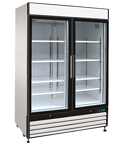 JET JRM2-48R 2 Hinged Swing Double Glass Door Refrigerated Merchandiser Cooler Showcase with LED Lighting 48 Cubic 8 Adjustable Shelves Digital Controller and Locks, 54 Inch Wide, White (Display Merchandiser Refrigerated)