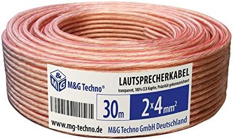 1,44€//m 25m 100/% OFC Premium Lautsprecherkabel 2 x 2,5qmm Boxenkabel transparent