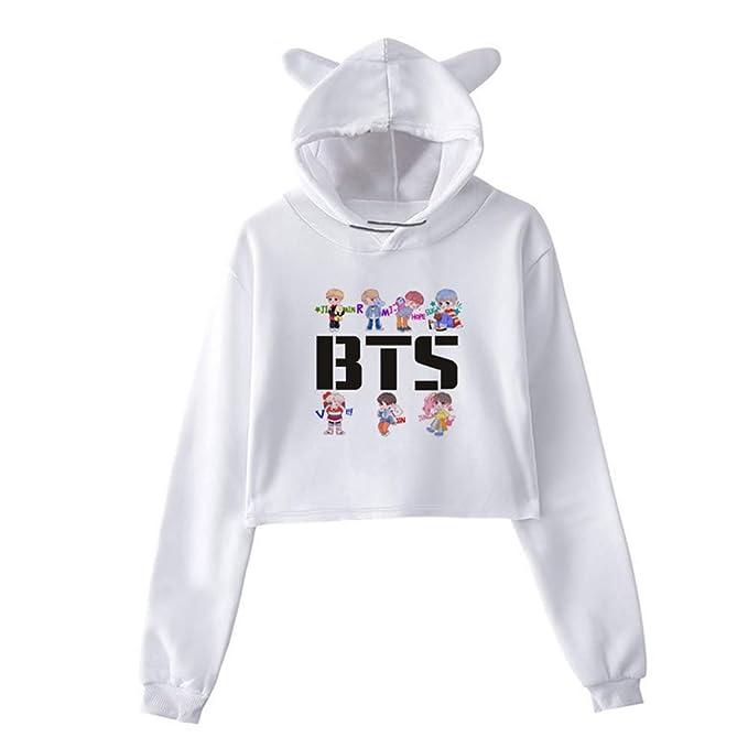 BTS Sudaderas con Capucha Ocasionales Mujer Cropped Sweater Estampados Suéter Tendencia Jerseys Manga Larga Camisetas Bonita: Amazon.es: Ropa y accesorios