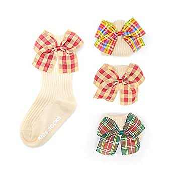 BUNNIEE 4-Pack Baby Girl Dress Socks High Bow Cotton Socks Handmade For Kids