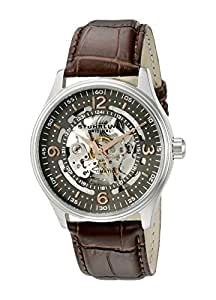 Stuhrling Original Delphi Automatic Watch - Grey Skeleton Dial Wrist Watch for Men - Stainless Steel Brown Leather Analog Watch 730.02