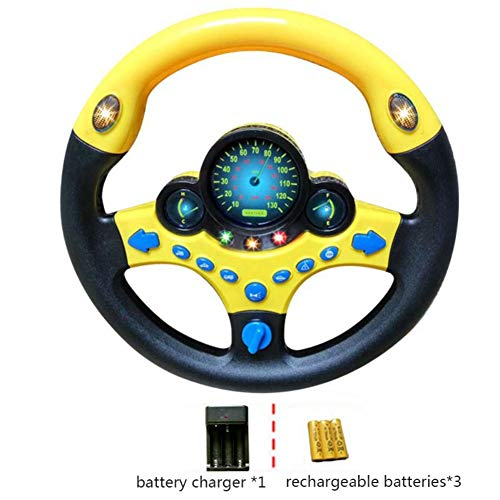 Simulated Driving Controller Portable Simulated Driving Steering Wheel Copilot Toy Children's Educational Sounding Toy Small Steering Wheel Toy Gift Funny Interactive Driving Wheel with Music Facaily (Kids Steering Wheel For Car)