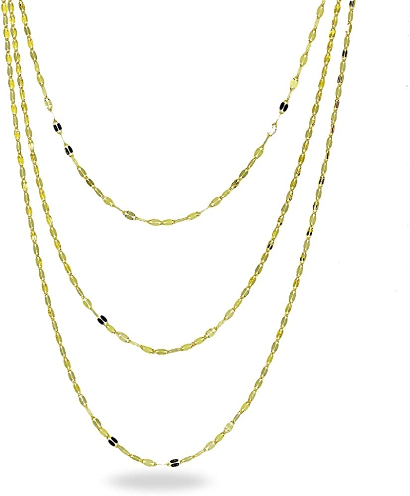 14K Gold Chain Mariner Italian Layered Necklace 20-Inches