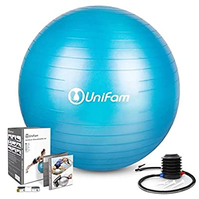 Exercise Stability Ball Chair with Hand Pump Use For CrossFit, Yoga, Balance & Core Strength Training, Non-Slip & Anti-Burst Extra Thick Fitness Ball(Multiple Sizes) from UNI FAM