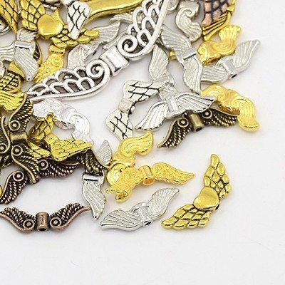 PEPPERLONELY 50 Grams Assorted Color Tibetan Style Angel Wings (Angel Wings Bead)