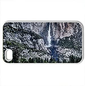 fantastic mountain high waterfall - Case Cover for iPhone 4 and 4s (Waterfalls Series, Watercolor style, White)